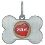 Amo la etiqueta del mascota del perrito de Zeus Placa Mascota