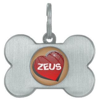 Amo la etiqueta del mascota del perrito de Zeus Placa De Mascota