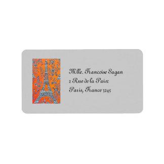 Amo la etiqueta del vintage de París Etiquetas De Dirección