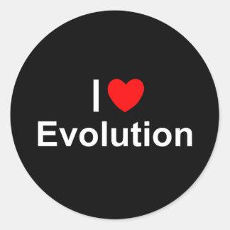 Amo la evolución (del corazón) pegatina redonda