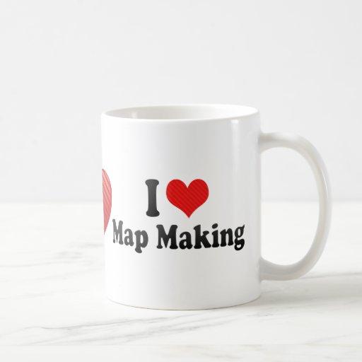 Amo la fabricación del mapa taza