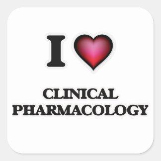 Amo la farmacología clínica pegatina cuadrada