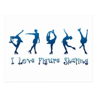 Amo la figura azul patinador tarjetas postales
