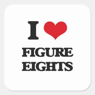 Amo la figura Eights Calcomanías Cuadradass Personalizadas