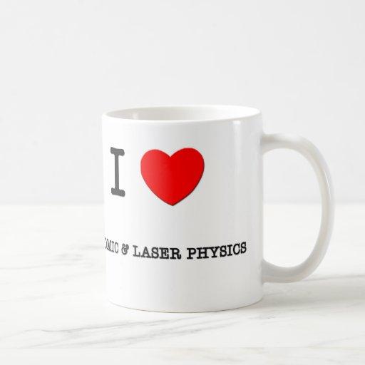 Amo la FÍSICA ATÓMICA y del laser Taza Básica Blanca