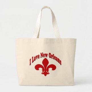 Amo la flor de lis de New Orleans Bolsa Tela Grande