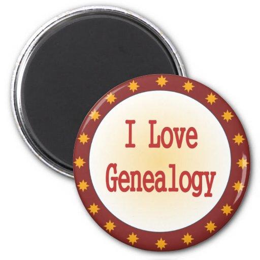 Amo la genealogía imán redondo 5 cm