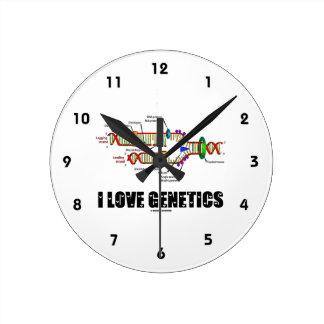 Amo la genética (la réplica de la DNA) Reloj Redondo Mediano