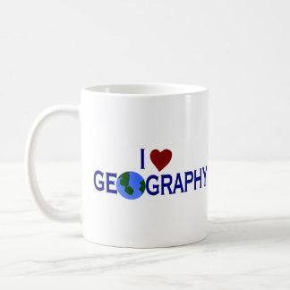 Amo la geografía taza básica blanca
