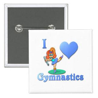amo la gimnasia #1 pin cuadrada 5 cm