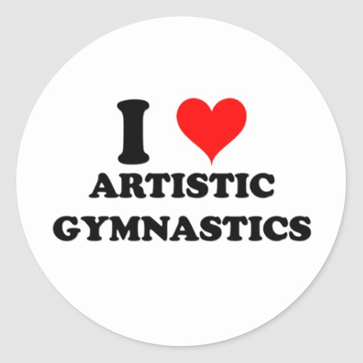 Amo la gimnasia artística etiqueta redonda