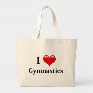 Amo la gimnasia bolsa tela grande