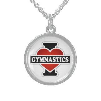 Amo la gimnasia collar de plata esterlina
