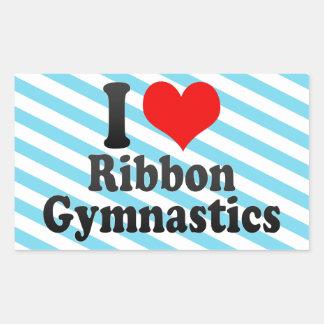 Amo la gimnasia de la cinta rectangular pegatinas