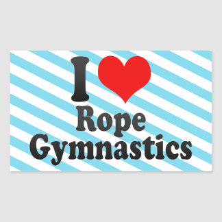 Amo la gimnasia de la cuerda rectangular pegatinas