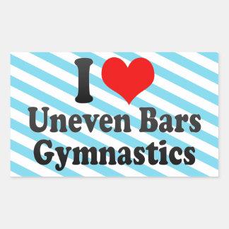 Amo la gimnasia de las barras desiguales rectangular pegatinas