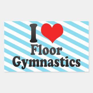 Amo la gimnasia del piso rectangular pegatinas