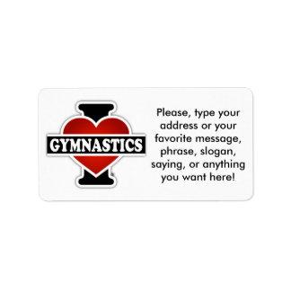 Amo la gimnasia etiqueta de dirección