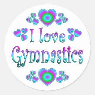 Amo la gimnasia pegatinas redondas