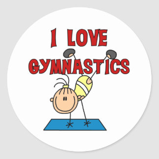Amo la gimnasia pegatina redonda