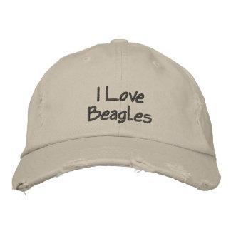 Amo la gorra de béisbol bordada Beagels