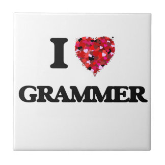 Amo la gramática azulejo cuadrado pequeño