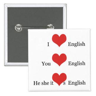 Amo la gramática inglesa del estudiante del pin cuadrado