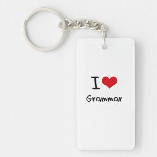 Amo la gramática llavero rectangular acrílico a una cara