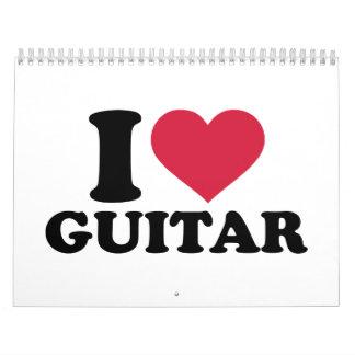Amo la guitarra calendarios de pared