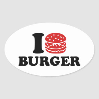 Amo la hamburguesa pegatina ovalada