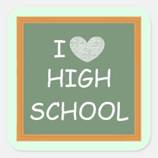 Amo la High School secundaria Pegatina Cuadrada