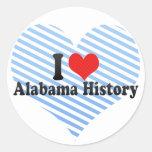 Amo la historia de Alabama Etiquetas Redondas