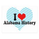Amo la historia de Alabama Tarjeta Postal
