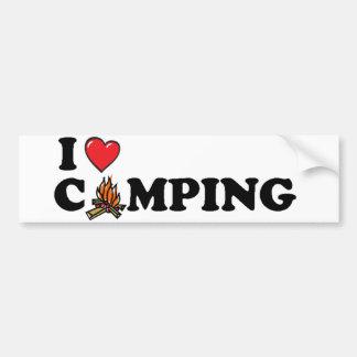 Amo la hoguera que acampa etiqueta de parachoque