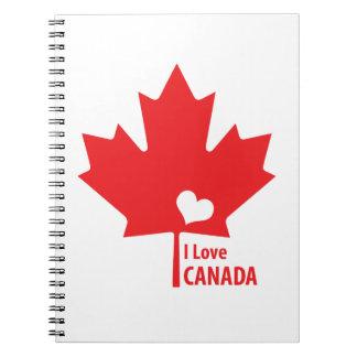 Amo la hoja de arce de Canadá Libros De Apuntes