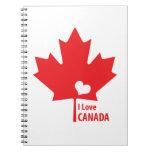 Amo la hoja de arce de Canadá Libros De Apuntes Con Espiral
