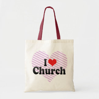Amo la iglesia bolsa lienzo