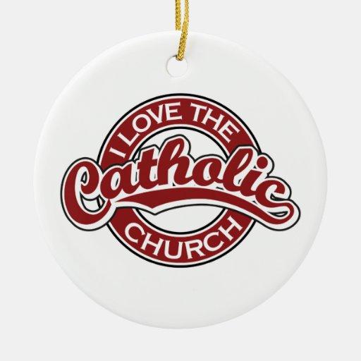 Amo la iglesia católica en rojo ornamento para reyes magos