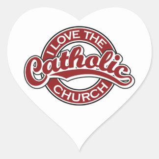 Amo la iglesia católica en rojo pegatina en forma de corazón