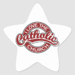 Amo la iglesia católica en rojo calcomanías forma de estrellaes