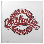 Amo la iglesia católica en rojo servilletas imprimidas