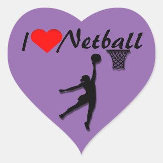 Amo la imagen del Netball Pegatina En Forma De Corazón