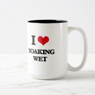 Amo la impregnación mojada taza dos tonos