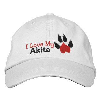 Amo la impresión de la pata del perro de Akita Gorras De Béisbol Bordadas
