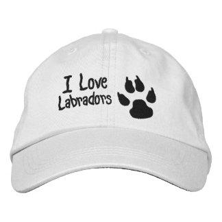 Amo la impresión de la pata del perro de Labradors Gorro Bordado
