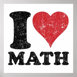 Amo la impresión del poster de la matemáticas