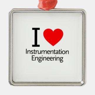 Amo la ingeniería de instrumentación adorno navideño cuadrado de metal