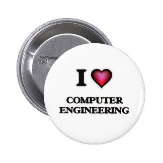 Amo la ingeniería informática pin redondo de 2 pulgadas