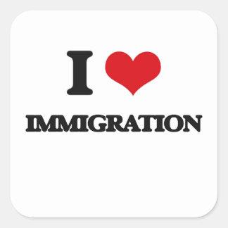 Amo la inmigración pegatina cuadrada