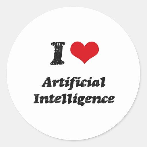 Amo la inteligencia artificial etiquetas redondas